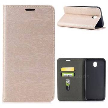 Tree Bark Pattern Automatic suction Leather Wallet Case for Samsung Galaxy J7 2017 J730 Eurasian - Champagne Gold