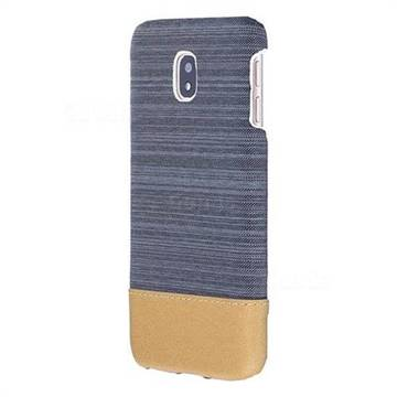 Canvas Cloth Coated Plastic Back Cover for Samsung Galaxy J7 2017 J730 Eurasian - Dark Grey