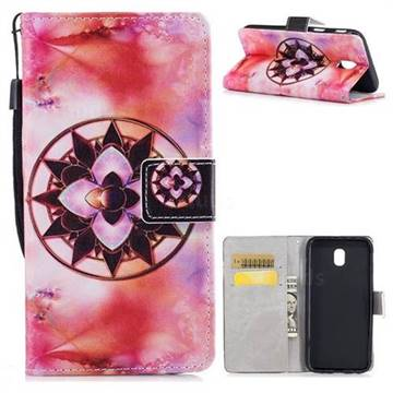 Red Mandala PU Leather Wallet Case for Samsung Galaxy J7 2017 J730 Eurasian