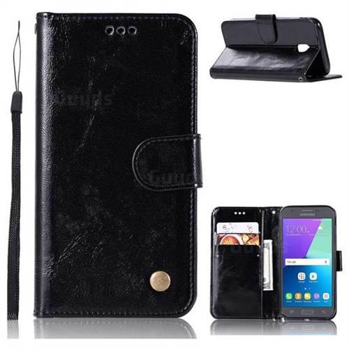Luxury Retro Leather Wallet Case for Samsung Galaxy J7 2017 J730 Eurasian - Black
