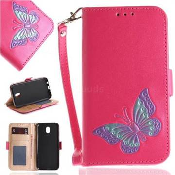 Imprint Embossing Butterfly Leather Wallet Case for Samsung Galaxy J7 2017 J730 Eurasian - Rose Red