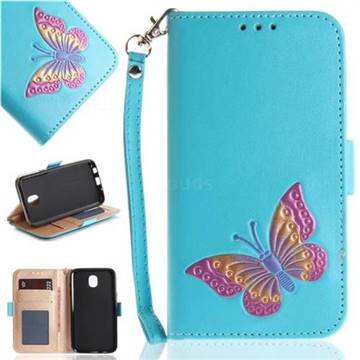 Imprint Embossing Butterfly Leather Wallet Case for Samsung Galaxy J7 2017 J730 Eurasian - Sky Blue