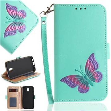 Imprint Embossing Butterfly Leather Wallet Case for Samsung Galaxy J7 2017 J730 Eurasian - Mint Green