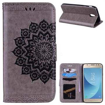 Datura Flowers Flash Powder Leather Wallet Holster Case for Samsung Galaxy J7 2017 J730 Eurasian - Gray