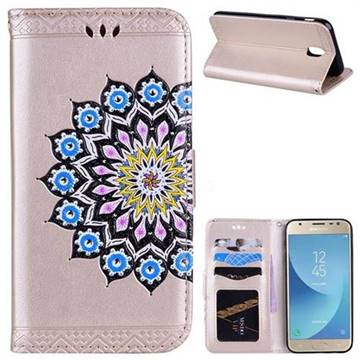 Datura Flowers Flash Powder Leather Wallet Holster Case for Samsung Galaxy J7 2017 J730 Eurasian - Golden