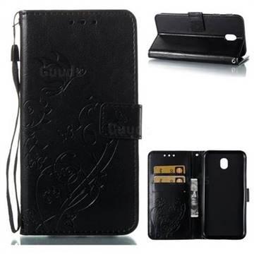 Embossing Butterfly Flower Leather Wallet Case for Samsung Galaxy J7 2017 J730 Eurasian - Black