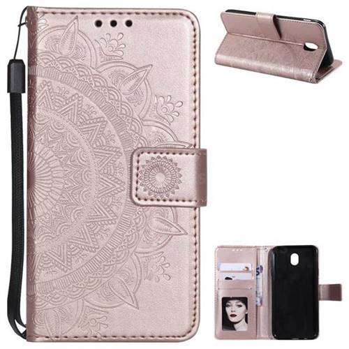 Intricate Embossing Datura Leather Wallet Case for Samsung Galaxy J7 2017 J730 Eurasian - Rose Gold
