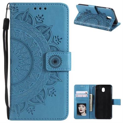 Intricate Embossing Datura Leather Wallet Case for Samsung Galaxy J7 2017 J730 Eurasian - Blue