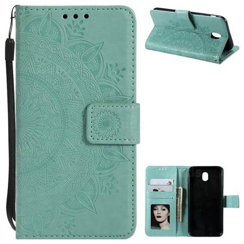 Intricate Embossing Datura Leather Wallet Case for Samsung Galaxy J7 2017 J730 Eurasian - Mint Green