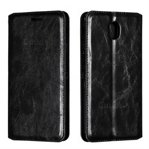 Retro Slim Magnetic Crazy Horse PU Leather Wallet Case for Samsung Galaxy J7 2017 J730 Eurasian - Black