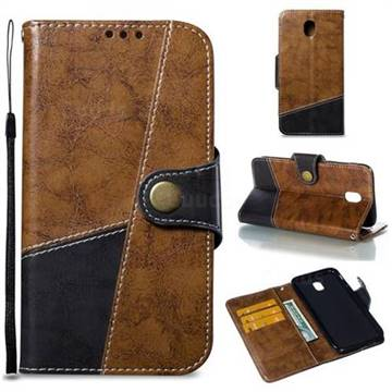Retro Magnetic Stitching Wallet Flip Cover for Samsung Galaxy J7 2017 J730 Eurasian - Brown