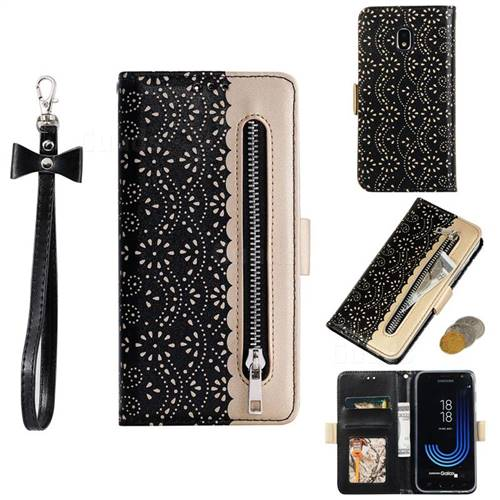 Luxury Lace Zipper Stitching Leather Phone Wallet Case for Samsung Galaxy J7 2017 J730 Eurasian - Black