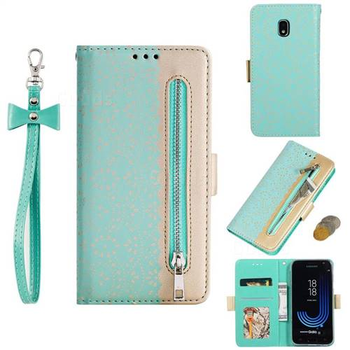 Luxury Lace Zipper Stitching Leather Phone Wallet Case for Samsung Galaxy J7 2017 J730 Eurasian - Green