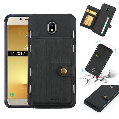 Brush Multi-function Leather Phone Case for Samsung Galaxy J7 2017 J730 Eurasian - Black