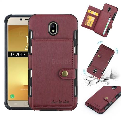 Brush Multi-function Leather Phone Case for Samsung Galaxy J7 2017 J730 Eurasian - Wine Red