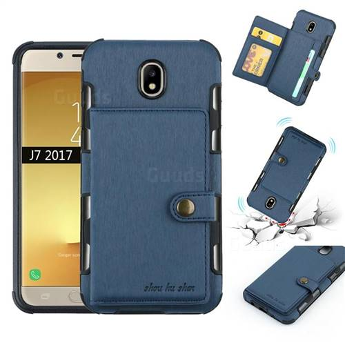 Brush Multi-function Leather Phone Case for Samsung Galaxy J7 2017 J730 Eurasian - Blue