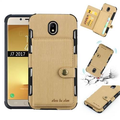 Brush Multi-function Leather Phone Case for Samsung Galaxy J7 2017 J730 Eurasian - Golden