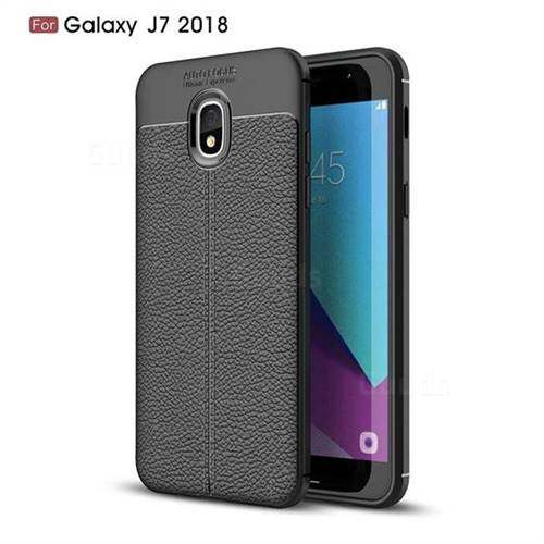 Luxury Auto Focus Litchi Texture Silicone TPU Back Cover for Samsung Galaxy J7 (2018) - Black