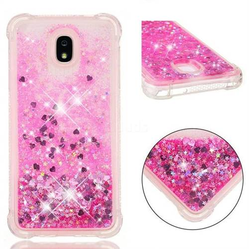 Dynamic Liquid Glitter Sand Quicksand TPU Case for Samsung Galaxy J7 (2018) - Pink Love Heart