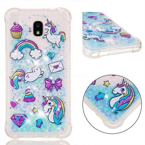 Fashion Unicorn Dynamic Liquid Glitter Sand Quicksand Star TPU Case for Samsung Galaxy J7 (2018)