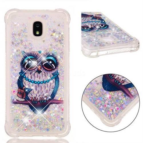 Sweet Gray Owl Dynamic Liquid Glitter Sand Quicksand Star TPU Case for Samsung Galaxy J7 (2018)