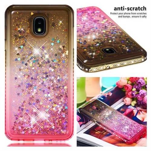 Diamond Frame Liquid Glitter Quicksand Sequins Phone Case for Samsung Galaxy J7 (2018) - Gray Pink