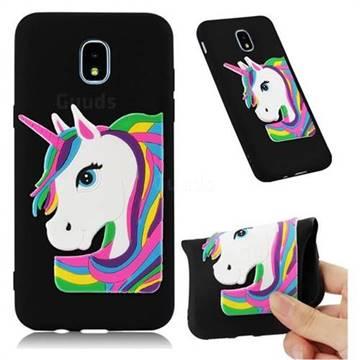 Rainbow Unicorn Soft 3D Silicone Case for Samsung Galaxy J7 (2018) - Black