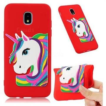 Rainbow Unicorn Soft 3D Silicone Case for Samsung Galaxy J7 (2018) - Red