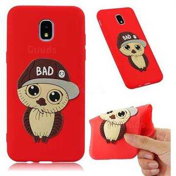 Bad Boy Owl Soft 3D Silicone Case for Samsung Galaxy J7 (2018) - Red