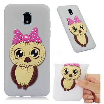 Bowknot Girl Owl Soft 3D Silicone Case for Samsung Galaxy J7 (2018) - Translucent White