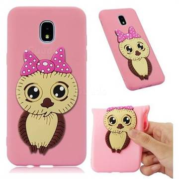 Bowknot Girl Owl Soft 3D Silicone Case for Samsung Galaxy J7 (2018) - Pink