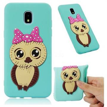 Bowknot Girl Owl Soft 3D Silicone Case for Samsung Galaxy J7 (2018) - Sky Blue