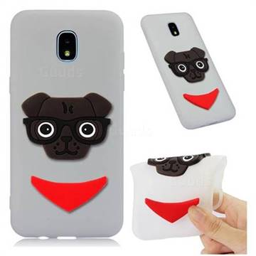 Glasses Dog Soft 3D Silicone Case for Samsung Galaxy J7 (2018) - Translucent White