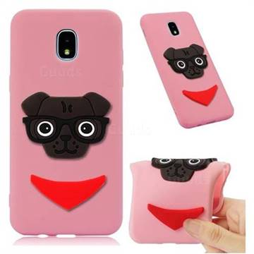 Glasses Dog Soft 3D Silicone Case for Samsung Galaxy J7 (2018) - Pink