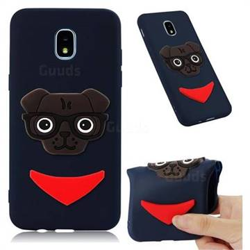 Glasses Dog Soft 3D Silicone Case for Samsung Galaxy J7 (2018) - Navy