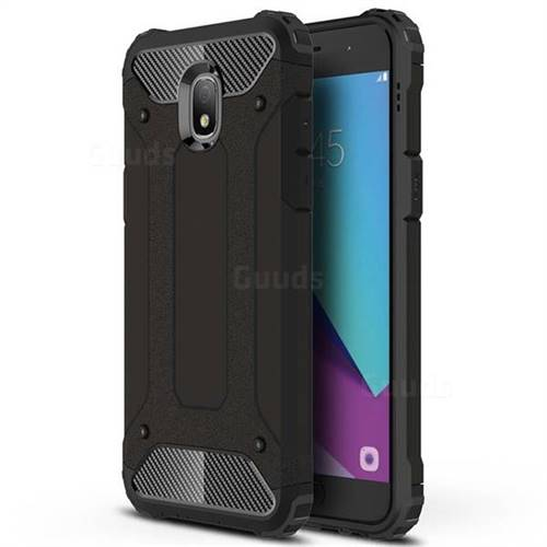 King Kong Armor Premium Shockproof Dual Layer Rugged Hard Cover for Samsung Galaxy J7 (2018) - Black Gold