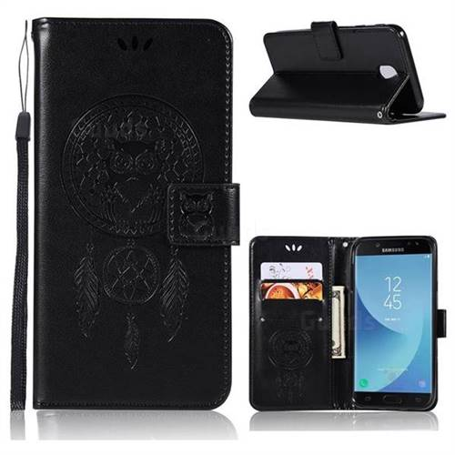 Intricate Embossing Owl Campanula Leather Wallet Case for Samsung Galaxy J7 (2018) - Black
