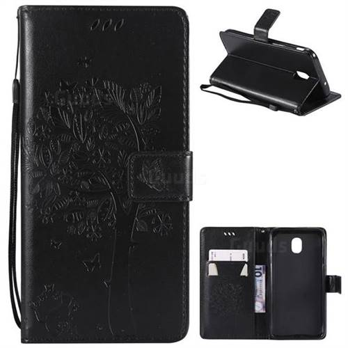 Embossing Butterfly Tree Leather Wallet Case for Samsung Galaxy J7 (2018) - Black