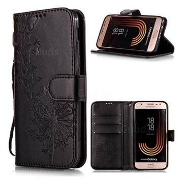 Intricate Embossing Dandelion Butterfly Leather Wallet Case for Samsung Galaxy J7 (2018) - Black