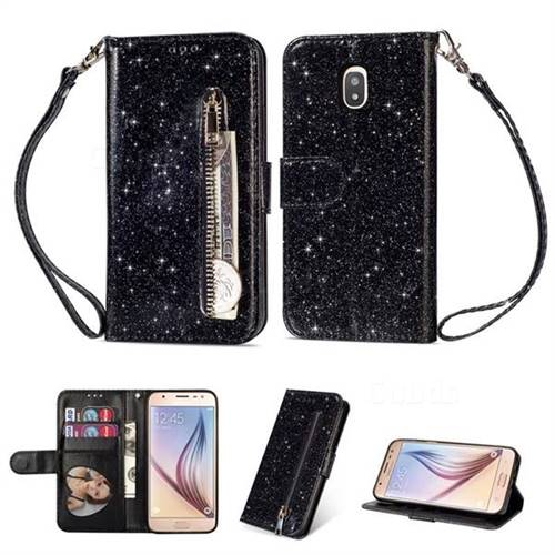 the best attitude 03403 fdcbc Glitter Shine Leather Zipper Wallet Phone Case for Samsung Galaxy J7 (2018)  - Black