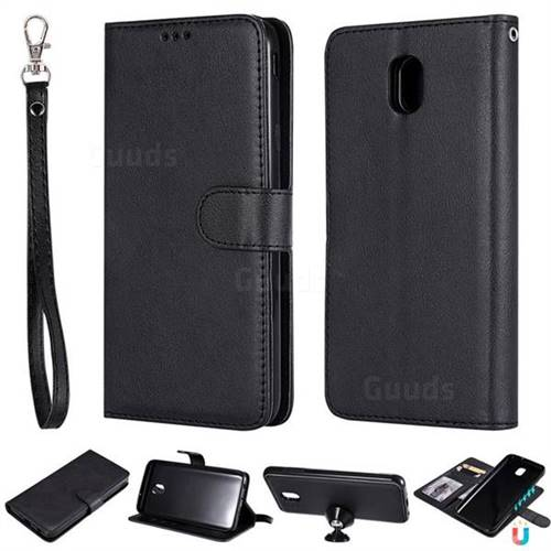 Retro Greek Detachable Magnetic PU Leather Wallet Phone Case for Samsung Galaxy J7 (2018) - Black