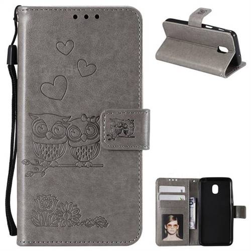 Embossing Owl Couple Flower Leather Wallet Case for Samsung Galaxy J7 (2018) - Gray