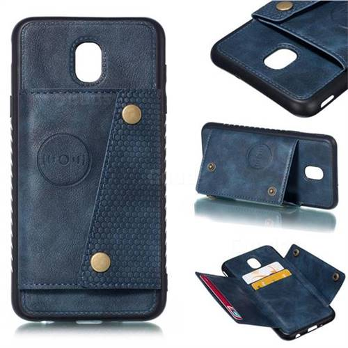 Retro Multifunction Card Slots Stand Leather Coated Phone Back Cover for Samsung Galaxy J7 (2018) - Blue