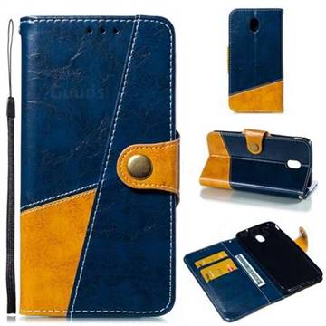 Retro Magnetic Stitching Wallet Flip Cover for Samsung Galaxy J7 (2018) - Blue