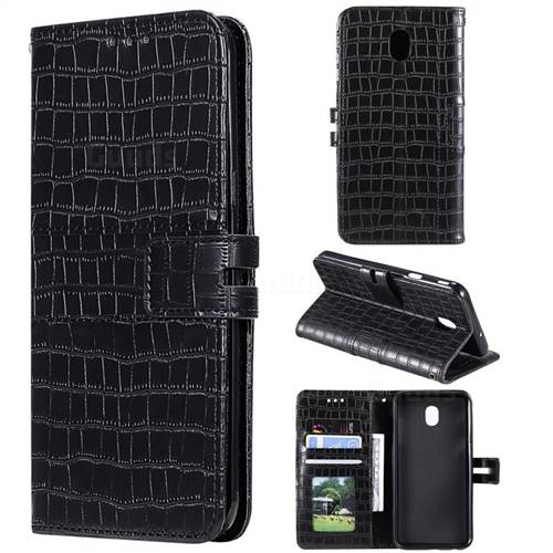 Luxury Crocodile Magnetic Leather Wallet Phone Case for Samsung Galaxy J7 (2018) - Black