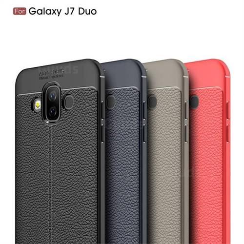 promo code bc955 3258c Luxury Auto Focus Litchi Texture Silicone TPU Back Cover for Samsung Galaxy  J7 Duo - Black