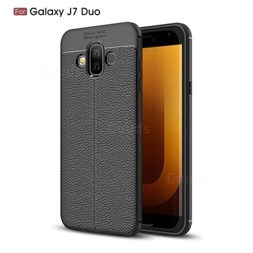 half off e60aa b75f9 Luxury Auto Focus Litchi Texture Silicone TPU Back Cover for Samsung Galaxy  J7 Duo - Black - Back Cover - Guuds