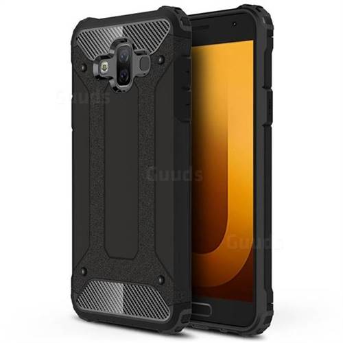 King Kong Armor Premium Shockproof Dual Layer Rugged Hard Cover for Samsung Galaxy J7 Duo - Black Gold