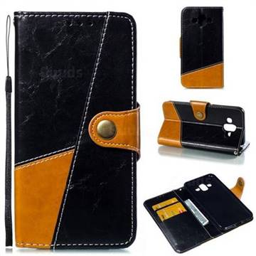 Retro Magnetic Stitching Wallet Flip Cover for Samsung Galaxy J7 Duo - Black