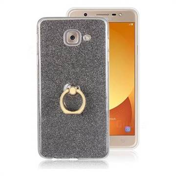 Luxury Soft TPU Glitter Back Ring Cover with 360 Rotate Finger Holder Buckle for Samsung Galaxy J7 Max G615F - Black